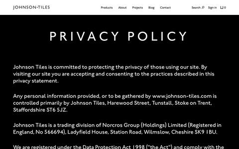 Screenshot of Privacy Page johnson-tiles.com - Johnson Tiles — Privacy Policy - captured June 8, 2017