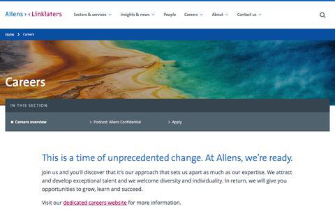 Screenshot of Jobs Page allens.com.au - Careers - Allens - captured July 3, 2019