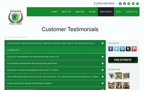 Screenshot of Testimonials Page designerdoorsandwindows.com - Customer Testimonials | Designer Doors and Windows - captured Sept. 24, 2014