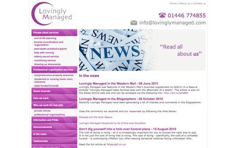 Screenshot of Press Page lovinglymanaged.com - Lovingly Managed In The News! - captured Dec. 13, 2015