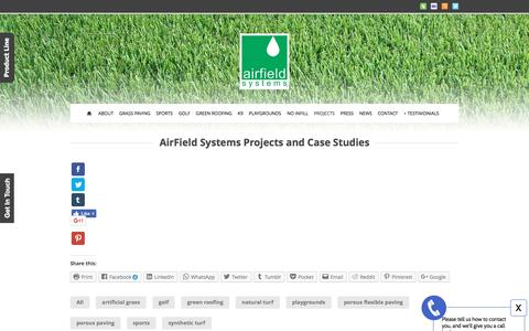 Screenshot of Case Studies Page airfieldsystems.com - AirField Systems Projects Case Studies AirPave and AirDrain - captured May 29, 2017