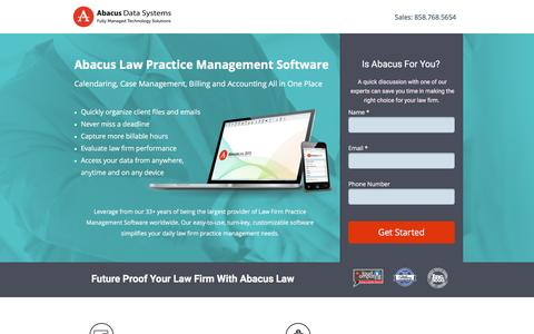 Screenshot of Landing Page abacuslaw.com - Abacus Law Firm Practice Management Software - captured Dec. 9, 2015