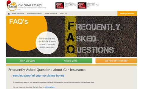 Screenshot of FAQ Page autonetinsurance.co.uk - Car Insurance FAQs - Autonet Insurance - captured Dec. 27, 2015