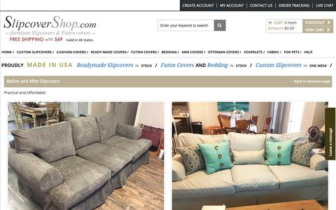 Screenshot of Testimonials Page slipcovershop.com - Before and after slipcover pictures and testimonials - captured Nov. 6, 2018