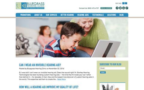 Screenshot of Blog bluegrasshearing.com - Better Hearing Blog - Bluegrass Hearing - captured Nov. 22, 2016