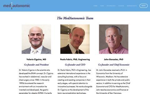 Screenshot of Team Page medautonomic.com - Team — MedAutonomic - captured March 18, 2017