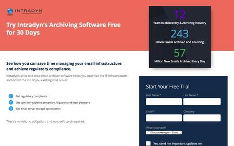 Screenshot of Trial Page intradyn.com - Free Trial - Intradyn - captured Dec. 5, 2015