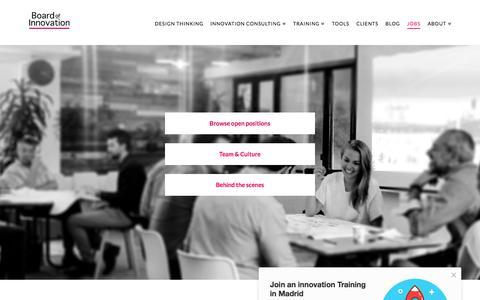 Screenshot of Jobs Page boardofinnovation.com - Jobs: Innovation Consultant / Design Strategist / Business Designer - captured Nov. 1, 2017