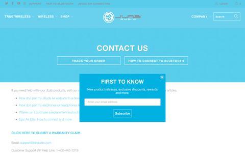 Screenshot of Contact Page jlabaudio.com - Contact Us - JLab Audio - captured April 13, 2019