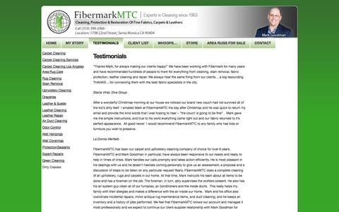 Screenshot of Testimonials Page fibermarkmtc.com - Testimonials :: Carpet Cleaning Santa Monica CA - captured Oct. 5, 2014