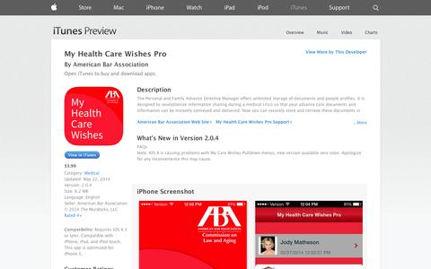 Screenshot of iOS App Page apple.com - My Health Care Wishes Pro on the App Store on iTunes - captured Oct. 23, 2014
