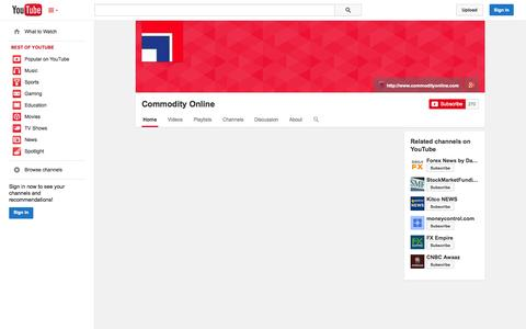 Screenshot of YouTube Page youtube.com - Commodity Online  - YouTube - captured Oct. 23, 2014