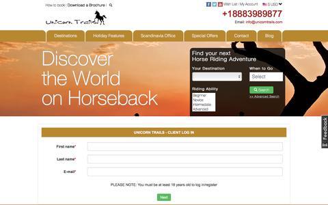 Screenshot of Login Page unicorntrails.com - client login screen, Unicorn Trails - captured Nov. 12, 2017