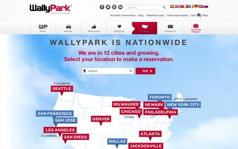 Screenshot of Locations Page wallypark.com - Locations • WallyPark - captured Jan. 21, 2016