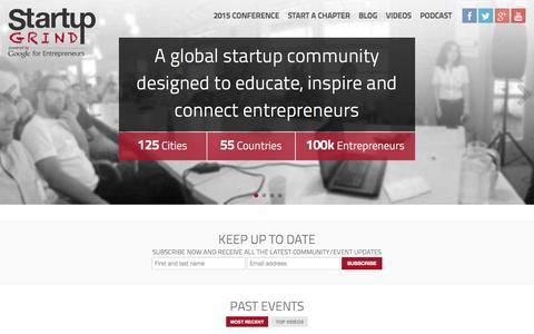 Screenshot of Home Page startupgrind.com - Startup Grind - captured Sept. 22, 2014