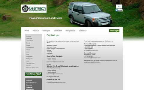 Screenshot of Contact Page bearmach.com - Bearmach - captured Sept. 30, 2014