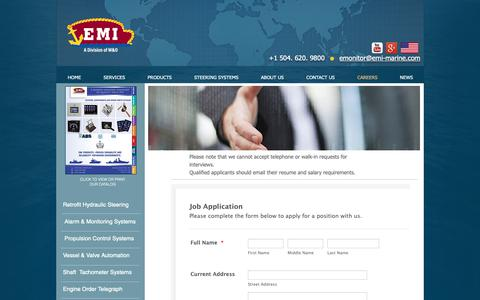 Screenshot of Jobs Page emi-marine.com - EMI Marine | CAREERS - captured Sept. 28, 2018