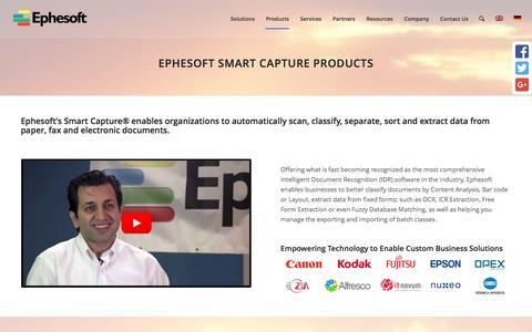 Screenshot of Products Page ephesoft.com - Products - Ephesoft Inc. - captured Aug. 23, 2016