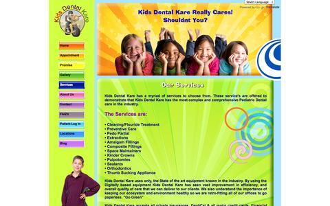 Screenshot of Services Page kidsdentalkare.com - Services | Kids Dental Kare - captured Sept. 26, 2014