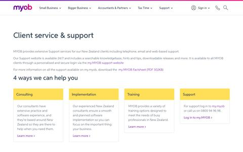 Screenshot of Services Page myob.com - Client Service & Support for Accounting Firms & Practices | MYOB - captured Sept. 22, 2018