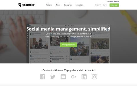 Screenshot of Products Page hootsuite.com - Platform - captured Jan. 9, 2018