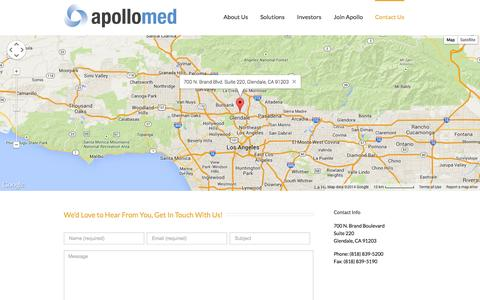 Screenshot of Contact Page apollomed.net - Apollo Medical Holdings, Inc.   –  Contact Us - captured Sept. 13, 2014