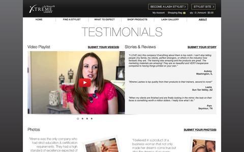 Screenshot of Testimonials Page xtremelashes.com - Consumer Testimonials - captured July 22, 2017