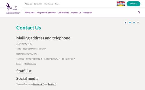 Screenshot of Contact Page alsbc.ca - Contact Us - ALS Society of BC - captured Oct. 2, 2018