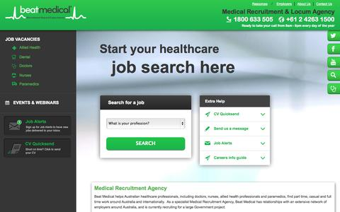 Screenshot of Login Page beatmedical.com - Locum Doctor Jobs, Medical Recruitment Agency, GP Jobs, Locums, Locum Agency Australia - captured Sept. 30, 2014