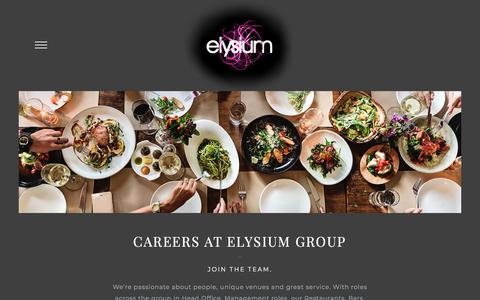 Screenshot of Jobs Page elysiumgroup.co.uk - Careers – Elysium - captured July 18, 2018