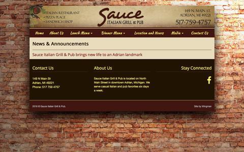Screenshot of Press Page sauceadrian.com - Sauce Italian Grill & Pub | News - captured April 11, 2016