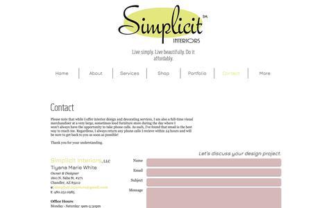 Screenshot of Contact Page simplicitinteriors.com - Contact Simplicit Interiors - captured Oct. 19, 2018