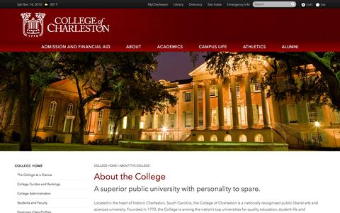 Screenshot of About Page cofc.edu - About the College - College of Charleston - captured Nov. 14, 2015