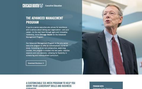 Screenshot of Landing Page chicagobooth.edu - Executive Education at Chicago Booth | Advanced Management - captured May 11, 2018