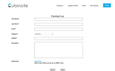 Screenshot of Contact Page cubinote.com - Cubinote | Contact - captured Nov. 3, 2018
