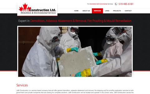 Screenshot of Services Page jobiconstruction.com - Fireproofing & Firestopping In Ingersoll, Ontario | JoBi Construction Ltd, Inc - captured Oct. 6, 2014
