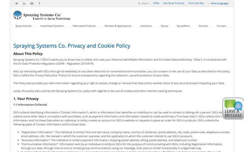 Screenshot of Privacy Page spray.com - Privacy and Cookie Policy   Spraying Systems Co. - captured Sept. 25, 2018