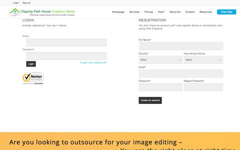 Screenshot of Login Page clippingpathhouse.com - Complex image Editing For Enterprise ecommerce retailers - captured Nov. 30, 2019