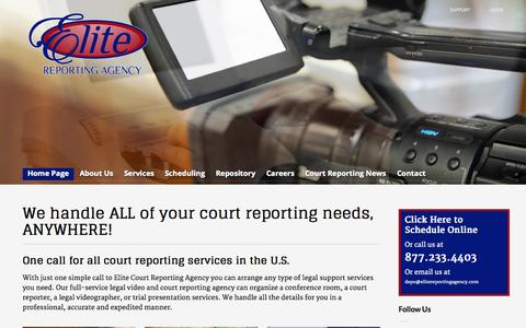 Screenshot of Home Page elitereportingagency.com - Elite Court Reporting Agency - captured Sept. 20, 2015