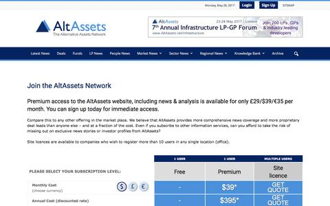 Screenshot of Signup Page altassets.net - Join the AltAssets Network | AltAssets Private Equity News - captured May 29, 2017