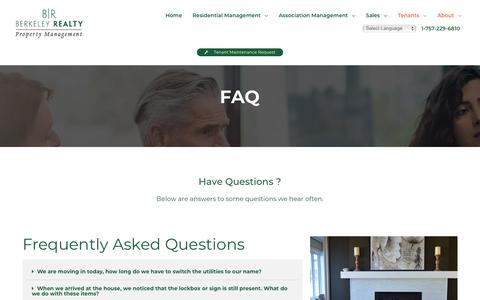 Screenshot of FAQ Page williamsburgrentals.com - FAQ - Berkeley Realty Property Management, Inc. - captured Oct. 5, 2018