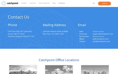 Screenshot of Contact Page catchpoint.com - Contact Us Today | Catchpoint - captured Feb. 21, 2018