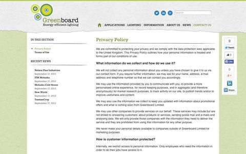 Screenshot of Privacy Page greenboardnz.com - Privacy Policy | Greenboard NZ - captured Oct. 3, 2014