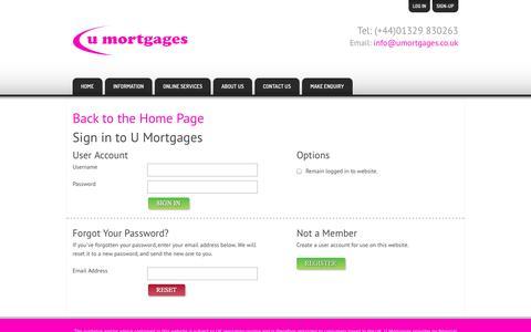 Screenshot of Login Page umortgages.co.uk - U Mortgages :: Login - captured Oct. 9, 2014