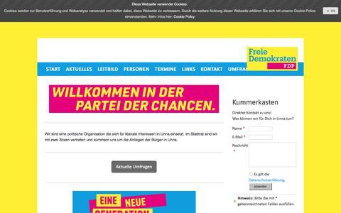 Screenshot of Home Page fdpunna.de - Start - FDP in Unna - captured June 8, 2018