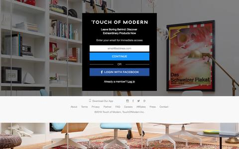 Screenshot of Home Page touchofmodern.com - Touch of Modern | Modern Products & Styles - captured Sept. 18, 2016