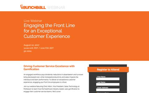 Screenshot of Landing Page bunchball.com - Engaging the Front Line for an Exceptional Customer Experience - captured Dec. 5, 2017