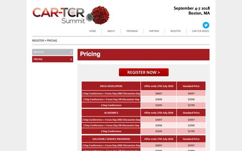 Screenshot of Pricing Page car-tcr-summit.com - CAR-TCR Summit 2018 | Hanson Wade - Pricing - 9275 - CAR-TCR Summit - captured July 9, 2018
