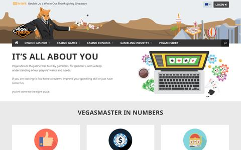 Screenshot of About Page vegasmaster.com - About Us | VegasMaster - Leading Online Gambling Magazine - captured Nov. 19, 2016