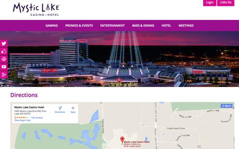 Screenshot of Maps & Directions Page mysticlake.com - Directions | Mystic Lake Casino Hotel - captured Oct. 2, 2015